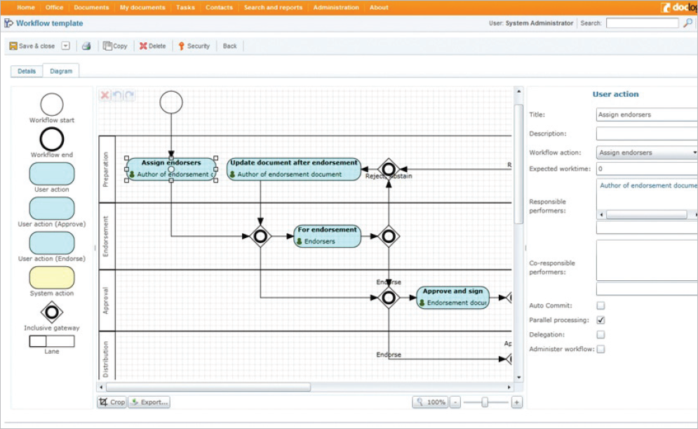 Process automation in DocLogix